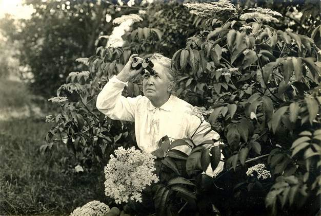 Althea Sherman gazes through binoculars.